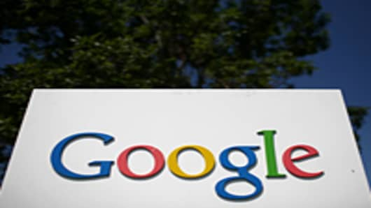 A sign is displayed outside of the Google headquarters in Mountain View, California.