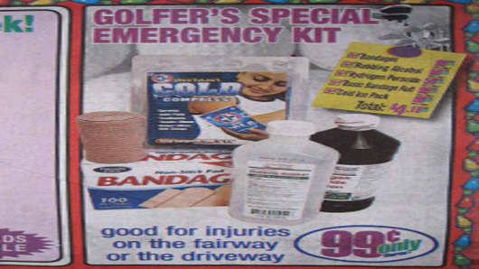 99 Cents Only ad promoting a Golfer's Special Emergency Kit