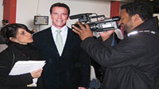 Kristina Haddad with Arnold Schwarzenegger cut-out