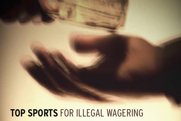In the world of illegal gambling, sporting events are far and away the biggest money maker. Literally hundreds of billions of dollars are wagered illegally in the United States on sporting events every year — from the bar-room bookie deals for hundreds, even thousands, of dollars at a time, to the simple Super Bowl office pool (yes, buying that $5 square is illegal in almost every corner of the country), millions of people are in on the action. Click ahead to see the top sports for illegal gambl