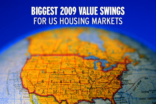 The past two years have been tumultuous for the US Housing Market, with foreclosures on the rise and home values falling in most areas of the country, but how big have  THOSE changes really been and how does 2009 compare to 2008? In its latest report, real estate site  found that home value losses began to stabilize in 2009, reaching $489 billion in total losses during the year, compared with $3.6 trillion in 2008. Of the 154 markets tracked by Zillow, 48 saw value increases in 2009,  although i