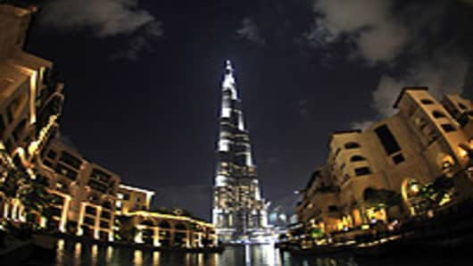 The Burj Dubai the world's tallest building, in Dubai, United Arab Emirates.
