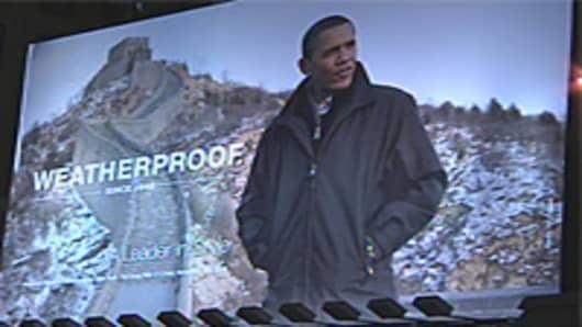 Weatherproof billboard featuring President Barack Obama