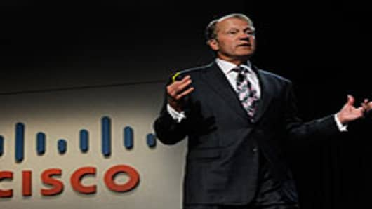 Cisco Systems chairman and CEO John Chambers speaks during a press event at the 2010 International Consumer Electronics Show in Las Vegas, Nevada.