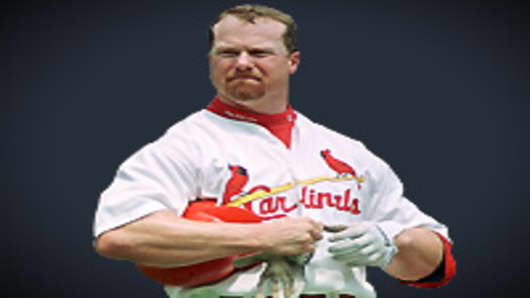 Mark McGwire headshot, as St. Louis Cardinals first baseman in 1998.