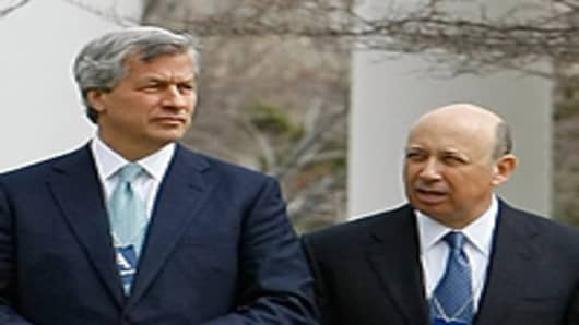 JP Morgan Chase CEO Jamie Dimon and Goldman Sachs CEO Lloyd Blankfein