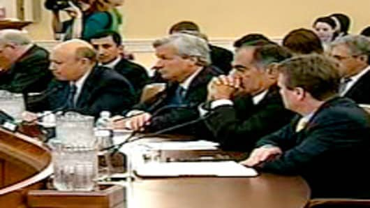 The Financial Crisis Inquiry Commission Hearing held on January 13, 2010. Pictured are the Financial Institution Representatives: Lloyd C. Blankfein of Goldman Sachs, James Dimon, of JPMorgan Chase & Company, John J. Mack of Morgan Stanley, and Brian T. Moynihan of Bank of America.