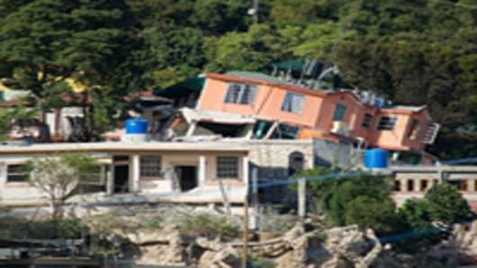 Housing is left in ruins in Morne Saint Lazare Delmas in Port-au-Prince,