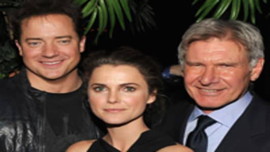 Brendan Fraser, Kerri Russell and Harrison Ford attend the Cinema Society with John & Aileen Crowley screening of 'Extraordinary Measures'