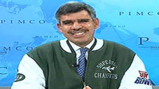 Mohammed El-Erian in a NY Jets jacket on Squawk Box this morning.