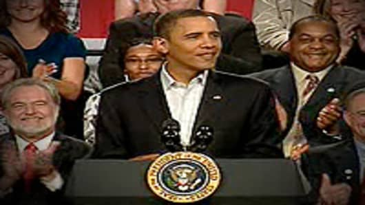 President Barack Obama addressing a town hall in Elyria, OH.