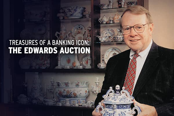 In an auction that is expected to realize between $6-$9 million,  is set to sell items from the collection of the late Benjamin Edwards III, former chairman of the national brokerage and investment banking firm, AG Edwards. Edwards' great-grandfather, a West-point graduate and former assistant Treasury Secretary to President Lincoln, established AG Edwards in 1887 while Benjamin Edwards was the fifth direct descendant to head the company.The auction will feature over 400 lots from Edwards' colle