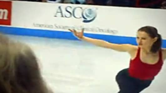 American Society of Clinical Oncology (ASCO) sponsorship as seen during a practice session for the 2010 U.S. Figure Skating Championships