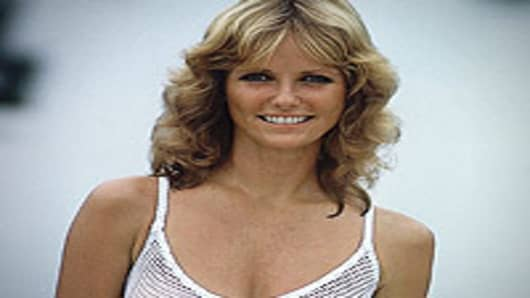 "Former model Cheryl Tiegs wearing the famous ""Fishnet Top"". (partial image shown)"