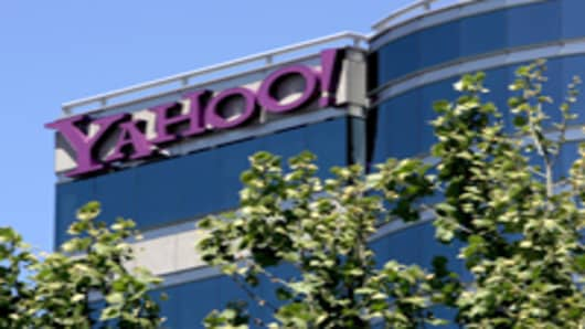 The exterior of Yahoo! corporate headquarters in Santa Clara, California.