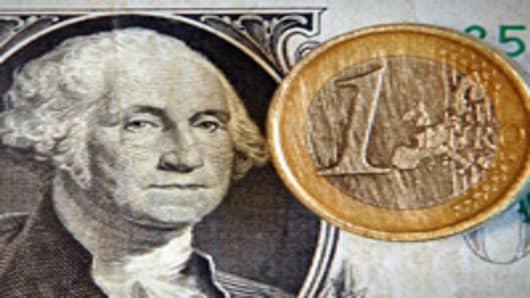 One euro and U.S. dollar