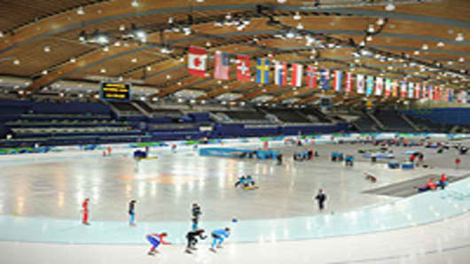 A general view during speed skating previews at the Richmond Olympic Oval ahead of the Vancouver 2010 Winter Olympics in Vancouver, Canada.