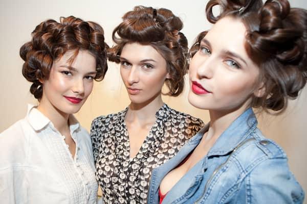 Models posing backstage for the ultra-luxe Italian lingerie label, La Perla.