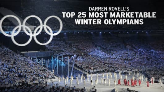 By As the 2010 Winter Olympics come to a close, CNBC's Darren Rovell takes a look into the athletes who made the most of their Olympic opportunity. Who are the biggest names for business, which athletes are in prime position for corporate endorsements and how much money-making potential do they have? The top 25 names coming out of the Vancouver games stand to turn Olympic Gold into cold-hard-cash. Keep in mind that hockey players (such as Ryan Miller and Sidney Crosby) have been left off the lis
