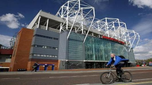 Old Trafford Stadium, home of Manchester United Football Club, in Manchester, Britain