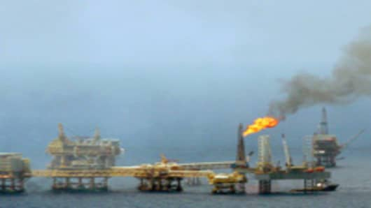 A Petroleos Mexicanos (PEMEX) oil rig near the shores of the state of Campeche, Mexico.