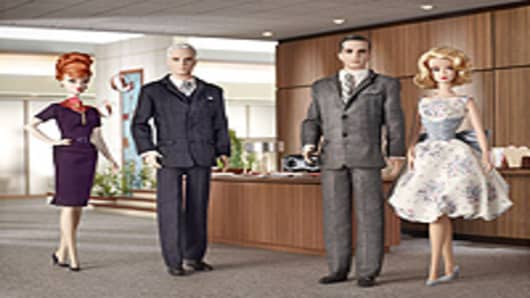 "The Barbie and Ken versions of the ""Mad Men"" characters are, from left, Joan Holloway, Roger Sterling, Don Draper and Betty Draper."