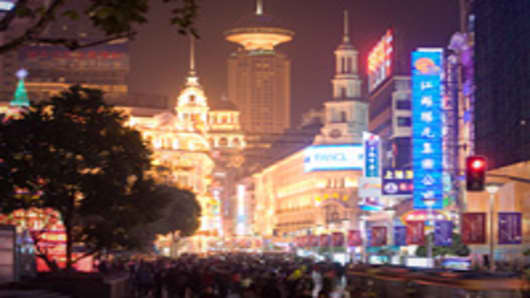 Nanjing street shopping district.