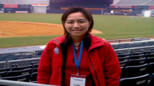 Lulu Chiang at Yankee Stadium.