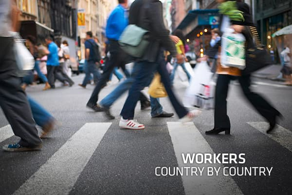 Depending on country of residence, dramatic differences exist in the working lives of citizens from different nations. CNBC.com took a look at several major factors that can significantly affect the quality of work life - average income, income taxes, retirement age, average work week and average vacation days - over 22 select countries around the world to compare how these factors vary. The characteristics of a working life within a country also have an effect on the macroeconomic situation, su