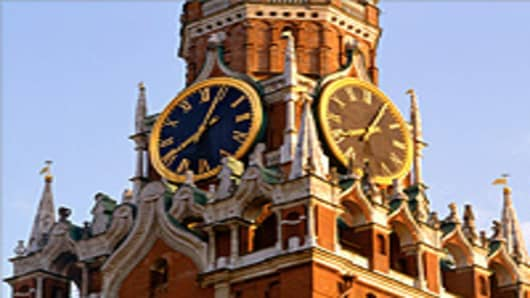 The Spasskaya Tower in Red Square, Moscow.