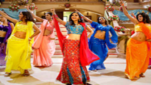 Bollywood dancers doing routine on set.