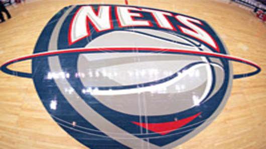 New Jersey Nets logo at center court