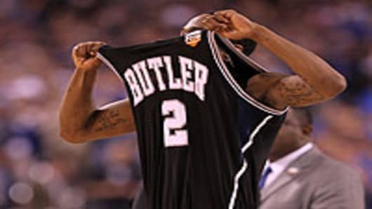 Shawn Vanzant of the Butler Bulldogs reacts after defeating the Michigan State Spartans 52-50 guring the National Semifinal game of the 2010 NCAA Division I Men's Basketball Championship in Indianapolis, Indiana.