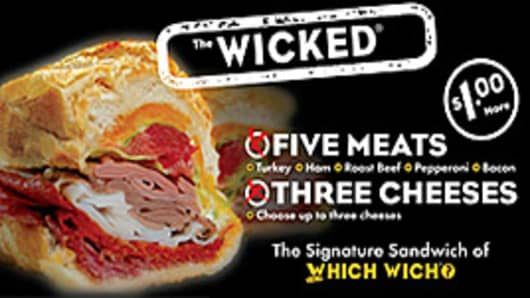 The Wicked contains five meats (turkey, ham, roast beef, pepperoni and bacon) and three cheeses.