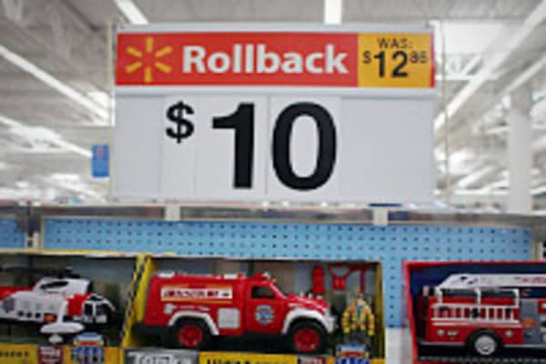 "How does Walmart stay profitable when they're always announcing ""rollbacks"" on the prices of the stuff it sells? Judging by this photo, they do it by actually increasing the price."