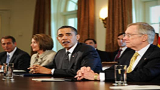 President Barack Obama (C) speaks during a meeting on financial reform. Obama and Vice President Joe Biden met with Speaker Nancy Pelosi (2ndL), Senator Harry Reid(R), Senator Mitch McConnell, Congressman John Boehner(L), and Congressman Steny Hoyer, focusing to reform Wall Street.