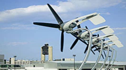 An AeroVironment rooftop turbine installation at Boston's Logan Airport.