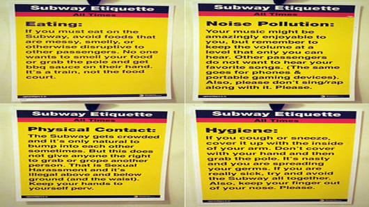 Subway Etiquette sign by Jason Shelowitz