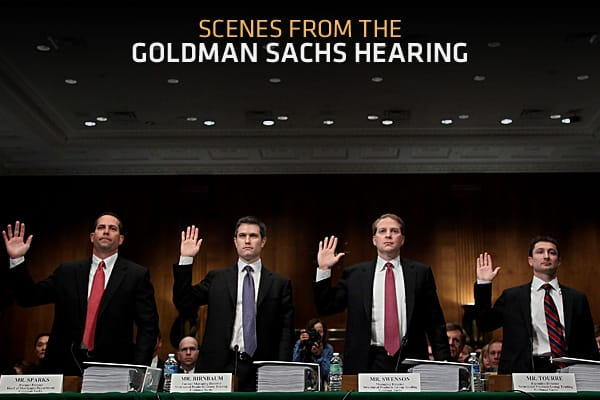 Top Goldman Sachs officials defended their conduct in the financial crisis on Tuesday before the Senate Governmental Affairs Investigations Subcommittee. They flatly rejected the Securities and Exchange Commission's fraud allegations against the firm, .The following is a look at some of the more dramatic moments in the hearing.