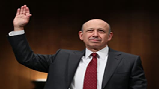Lloyd Blankfein, chairman and CEO of The Goldman Sachs Group, is sworn in while testifying before the Senate Homeland Security and Governmental Affairs Investigations Subcommittee on Capitol Hill.