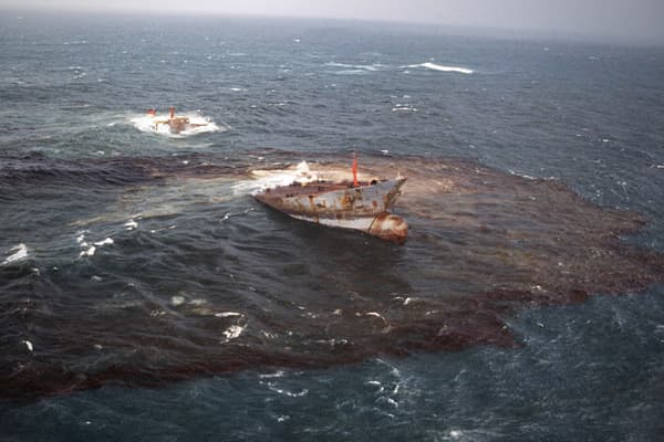 Oil Spilled: 1.6 million barrels Cost in 2010: $136 million In March 1978, the oil tanker Amoco Cadiz ran aground after its rudder was damaged in a winter storm, and although crews were alerted to the impending disaster, they were unable to halt the ship. According to the Mariner Group, the ship spilled 1.6 million barrels of crude oil near Portsall, France and the resulting slick eventually affected 125 miles of coastline.