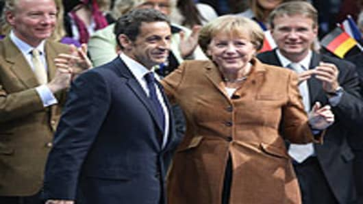 German Chancellor Angela Merkel and French President Nicolas Sarkozy.