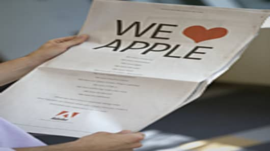 "Adobe's ""We Love Apple"" ad in The New York Times"