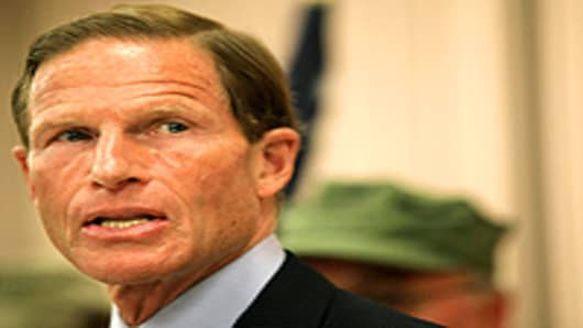 Democratic senatorial candidate, Attorney General of Connecticut Richard Blumenthal holds a press conference to explain the discrepancies in claims that he repeatedly served in Vietnam as a Marine at a Veterans of Foreign Wars post on May 18, 2010 in West Hartford, Connecticut.