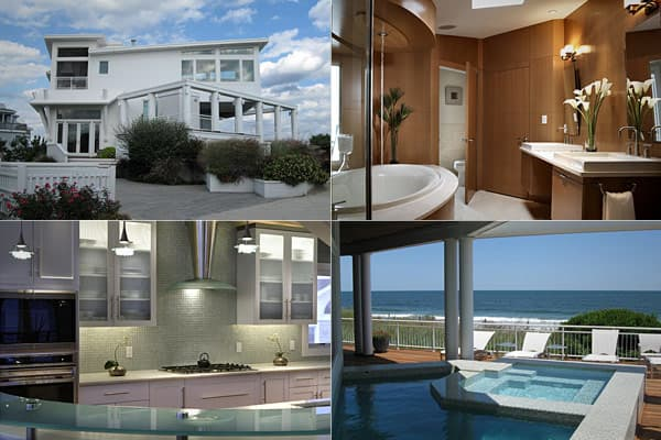 List price: $7.25 million Living area: 4,341 sqft Bedrooms: 5 Bathrooms: 4, 2 half This beachfront home is located on one of the most exclusive areas along the New Jersey shore, located in Long Beach Township. Each room offers ocean views, while the interior features a cantilevered design that accentuates the sunny and sandy feel of the area. The home features a screened grill deck, in-deck pool and spa, cedar outdoor showers, a 3-floor elevator, remote controlled custom window treatments and a