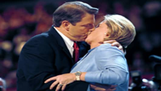 Vice President Al Gore kisses his wife Tipper Gore after accepting the democratic nomination for President of the United States on the the fourth and final night of the Democratic National Convention in Los Angeles, CA, August 17, 2000.