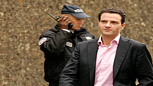 Jerome Kerviel shown here released on bail from La Sante Prison by a Parisian court on March 18, 2008 in Paris, France. Jerome Kerviel, the Societe Generale rogue trader was accused of losing 4.9 billion euros (7.2 billion US dollars) through unauthorised trading.