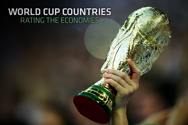 Thirty-two countries will be represented in South Africa when the World Cup final starts. Five-time champions Brazil are joint favorites with Spain to lift the Jules Rimet Cup.But while attention will be on the pitch, economists and analysts at Goldman Sachs took the chance to assess the economies of the participants. Does gross national product have much to do with success on the pitch? Not really, Goldman concluded, pointing to a -0.17 correlation between GNP and Fifa's current world rankings.