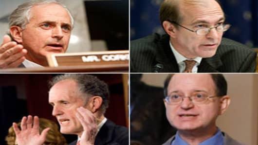 Clockwise from top left: Sen. Bob Corker (R-Tenn.), Rep. Scott Garrett (R- NJ), Sen Ted. Kaufman (D-Del.), Rep. Brad Sherman (D-Calif.)