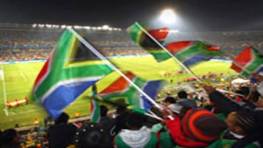 South Africa fans show their support during the FIFA Confederations Cup match between Spain and South Africa at the Free State Stadium on June 20, 2009 in Bloemfontein, South Africa.